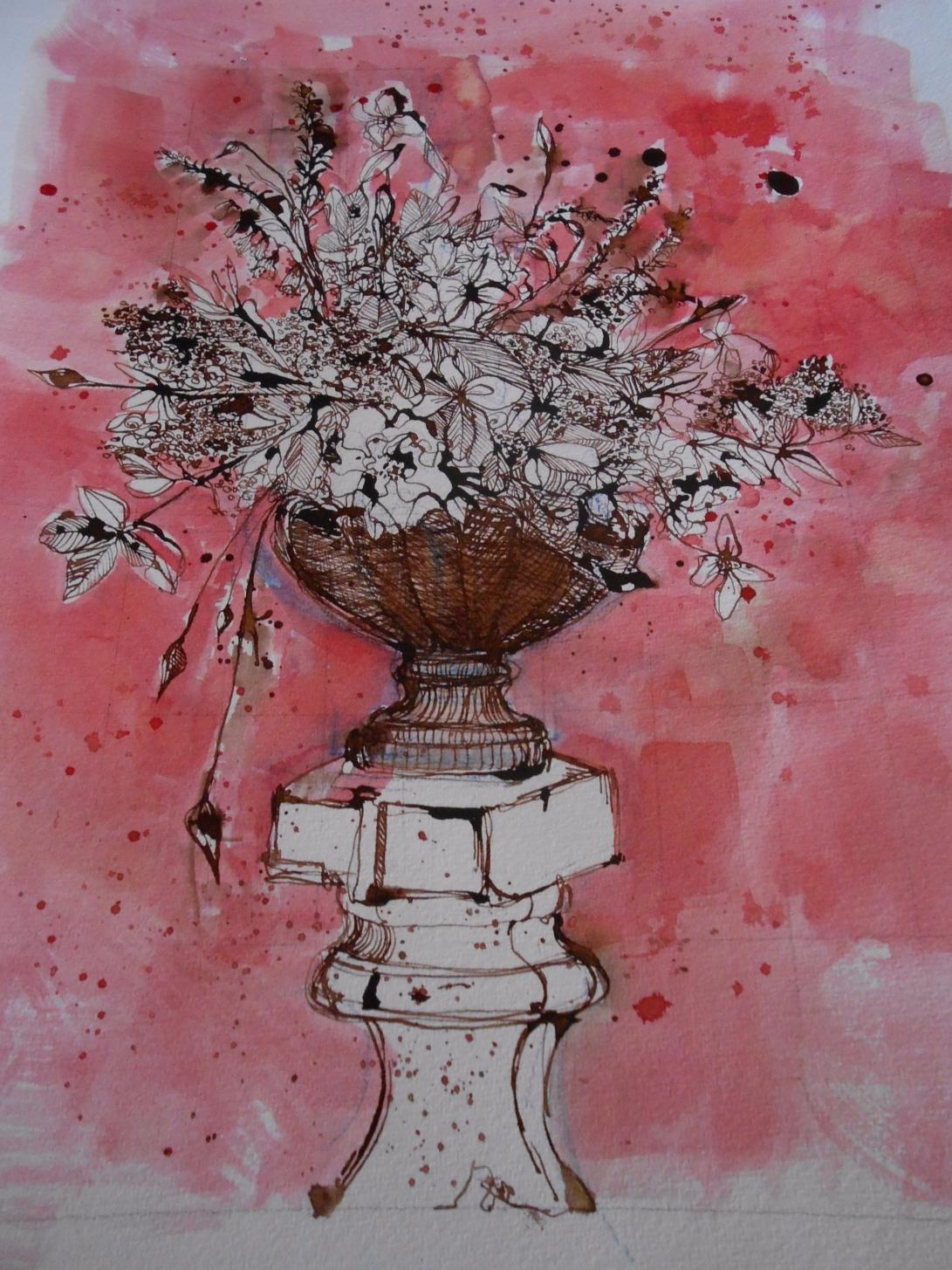 Flowers on pedestal